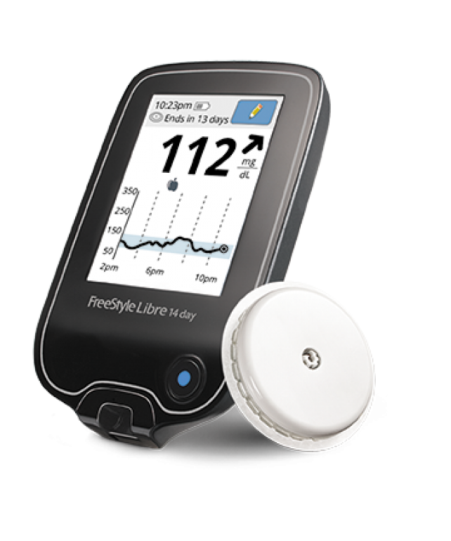 Photo of the FreeStyle Libre CGM System.
